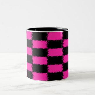 Hot Pink & Black Checked Two-Tone Mug