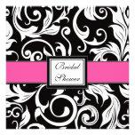 Hot Pink & Black Damask Bridal Shower Invitations