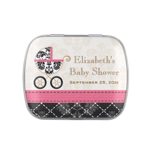 HOT PINK Black DAMASK Carriage Baby Shower Favor Jelly Belly Candy Tin
