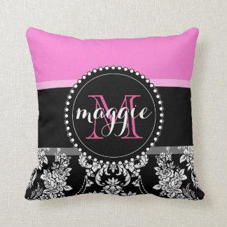 Hot Pink Black Damask Girly Monogram Pattern Cushion