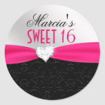 Hot Pink Black Floral Damask Diamond Heart Seal Round Sticker