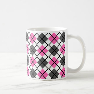 Hot Pink, Black, Grey on White Argyle Print Mug
