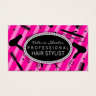 Hot Pink & Black Hair Salon Tools Business Card