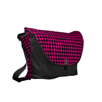 Hot Pink/Black Houndstooth Courier Bag