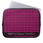 Hot Pink/Black Houndstooth Laptop Sleeve
