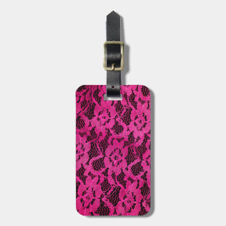 Hot Pink/Black Lace-Look Luggage Tag