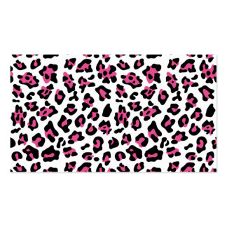 Hot Pink Black Leopard Animal Print Pattern Business Card Template
