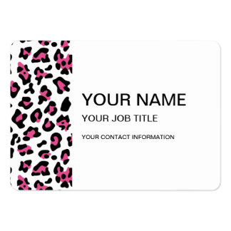 Hot Pink Black Leopard Animal Print Pattern Business Card Templates