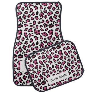 Hot Pink Black Leopard Animal Print Pattern Car Mat