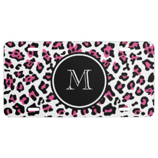 Hot Pink Black Leopard Animal Print with Monogram License Plate