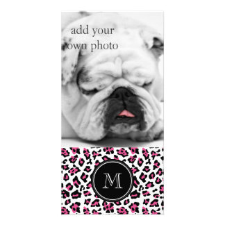 Hot Pink Black Leopard Animal Print with Monogram Photo Cards