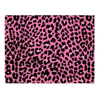 Hot Pink & Black Leopard Print Postcard