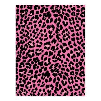 Hot Pink & Black Leopard Print Post Cards