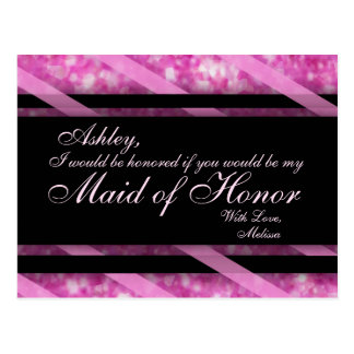 Hot Pink, Black | Maid of Honor Postcard