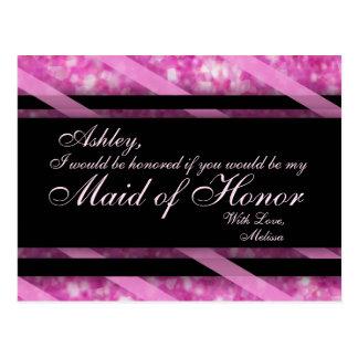 Hot Pink, Black | Maid of Honor Postcard