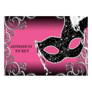Hot Pink Black Masquerade Party Admission Tickets Business Card Template