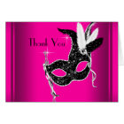 Hot Pink Black Masquerade Party Thank You Cards