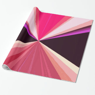 Hot pink black modern triangles pattern wrapping paper