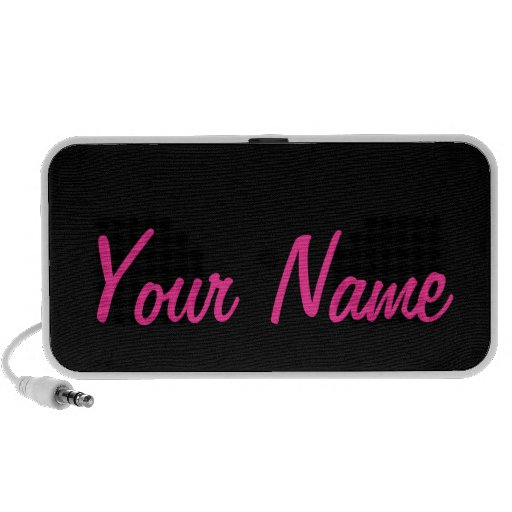 Hot Pink Black Personalize It with Your Name iPod Speakers