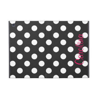 Hot Pink Black Polka Dot Personalized Name Girly iPad Mini Case