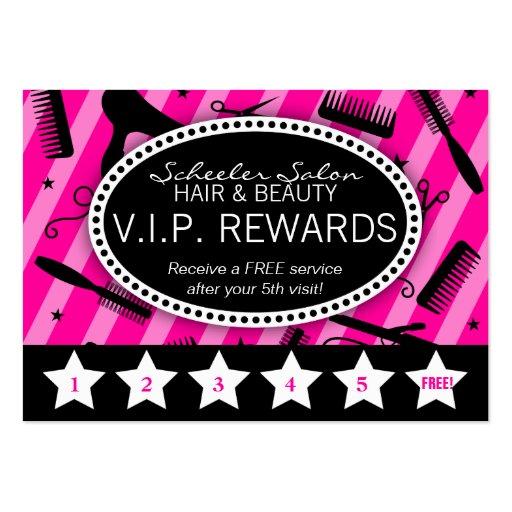 Hot Pink & Black Salon Loyalty Business Card