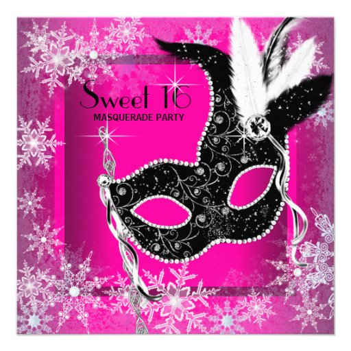 Hot Pink Black Snowflake Sweet 16 Masquerade Party Custom Announcements