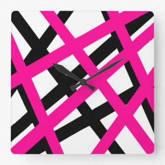 Hot Pink Black Stripe Geometric Square Wall Clock