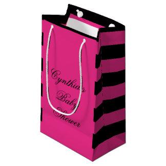 Hot Pink & Black Stripes Baby Shower Favor Bags