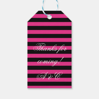 Hot Pink & Black Stripes Gift Tags