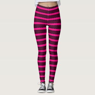 Hot Pink & Black Stripes Leggings
