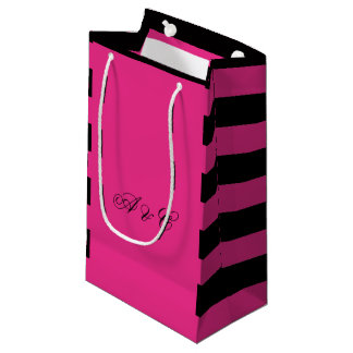 Hot Pink & Black Stripes Party Bags