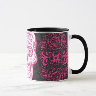 Hot Pink Black Sugar Skull Roses Gothic Grunge