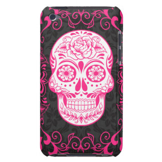 Hot Pink Black Sugar Skull Roses Gothic Grunge Barely There iPod Cover