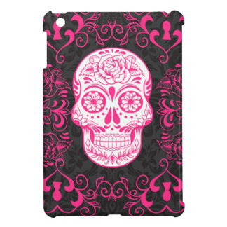 Hot Pink Black Sugar Skull Roses Gothic Grunge iPad Mini Cover
