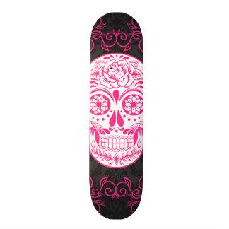 Hot Pink Black Sugar Skull Roses Gothic Grunge Skate Deck
