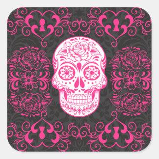 Hot Pink Black Sugar Skull Roses Gothic Grunge Square Sticker