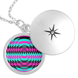 Hot Pink Black Teal Saw Blade Ripples Waves Personalized Necklace