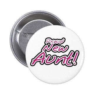 Hot Pink/Black Text Proud New Aunt 6 Cm Round Badge