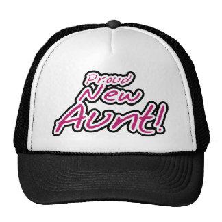Hot Pink/Black Text Proud New Aunt Cap