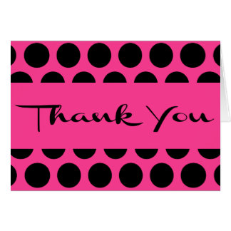 Hot Pink & Black Thank You Polka Dot Wedding Party Card