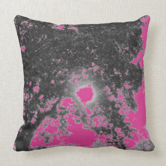 Hot pink black tree cushion