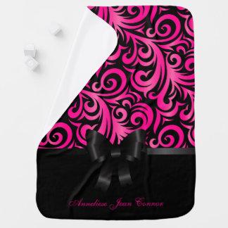 Hot Pink Black Verder and Black Design Pattern Pramblanket