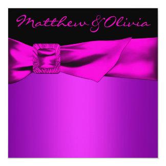 "Hot Pink Black Wedding 5.25"" Square Invitation Card"