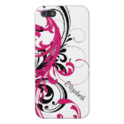 Hot Pink Black White Funky Wavy Scroll Floral Cover For iPhone 5/5S