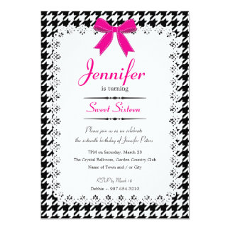 Hot Pink & Black White Houndstooth Sweet 16 Card