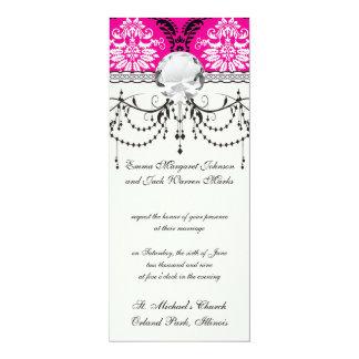 hot pink black white ornate damask card