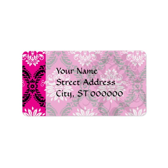 hot pink black white ornate damask label