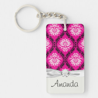 hot pink black white ornate damask Single-Sided rectangular acrylic key ring