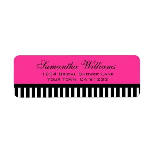 Hot Pink Black & White Stripes Return Address Label