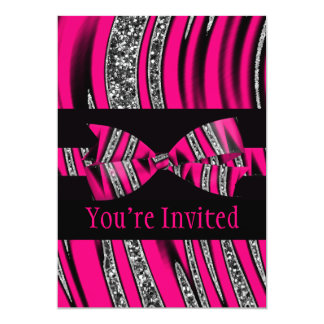 Hot Pink & Black Zebra Glitter Stripes Card
